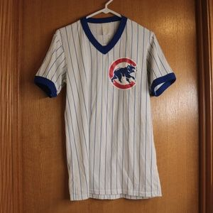 Vintage Worn Chicago Cubs Majestic Striped Shirt M